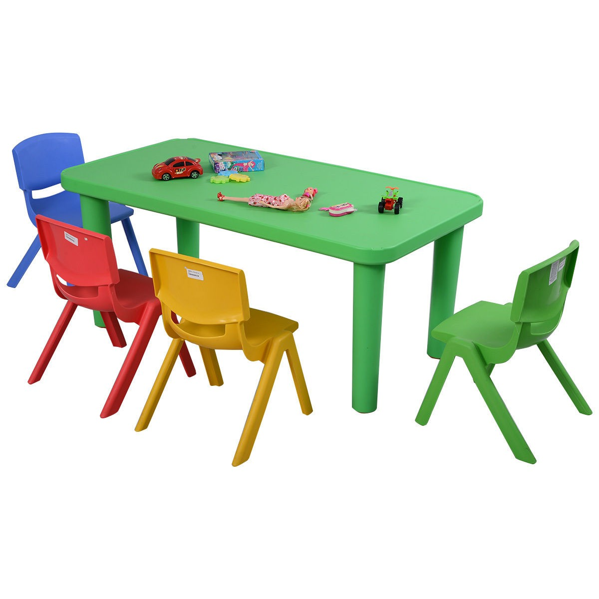 Fun Kids Plastic Table and 4 Chairs Set Colorful Play