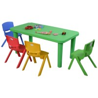 Fun Kids Plastic Table and 4 Chairs Set Colorful Play ...