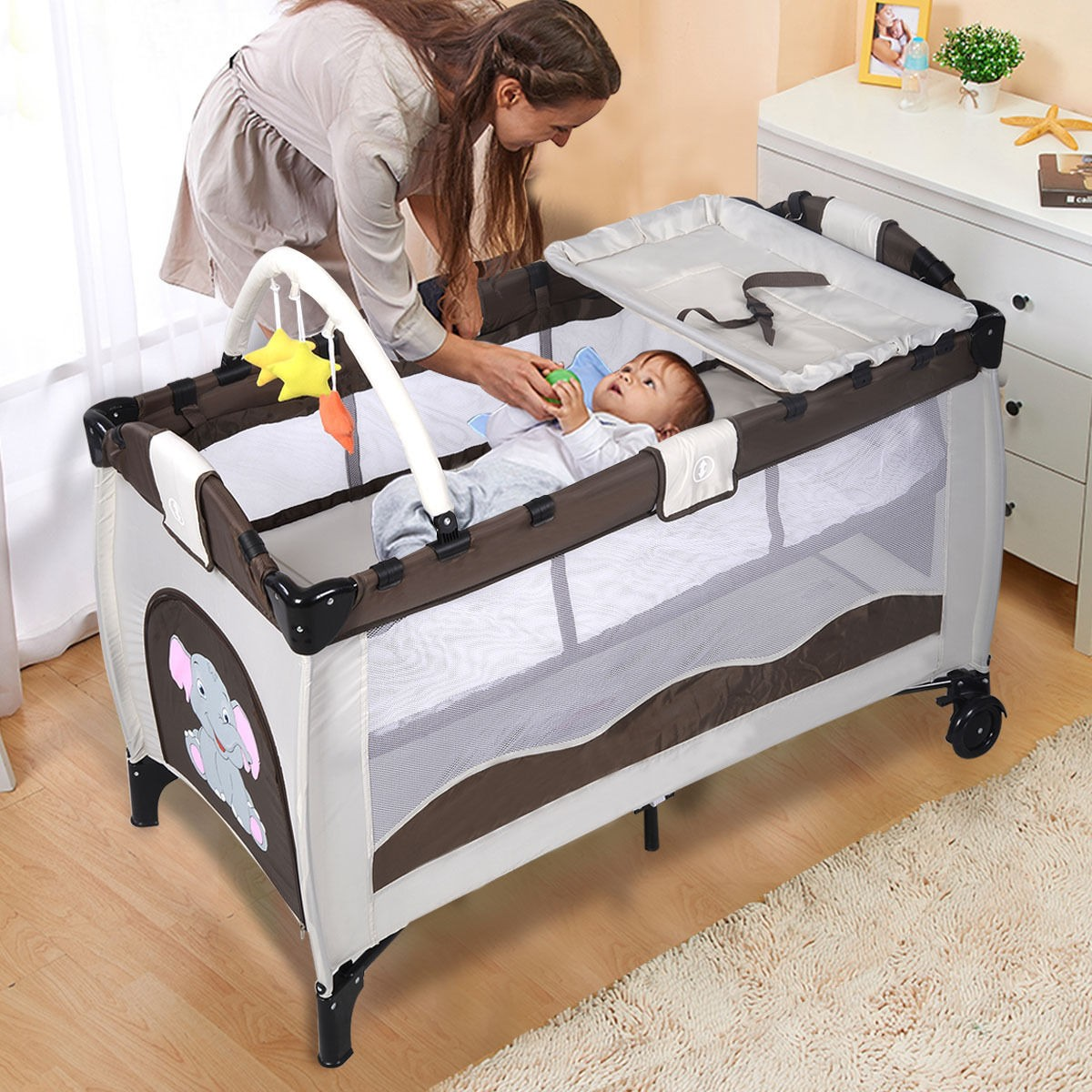 Baby Bassinet For Bed Portable Baby Crib Playpen Playard Pack Travel Infant