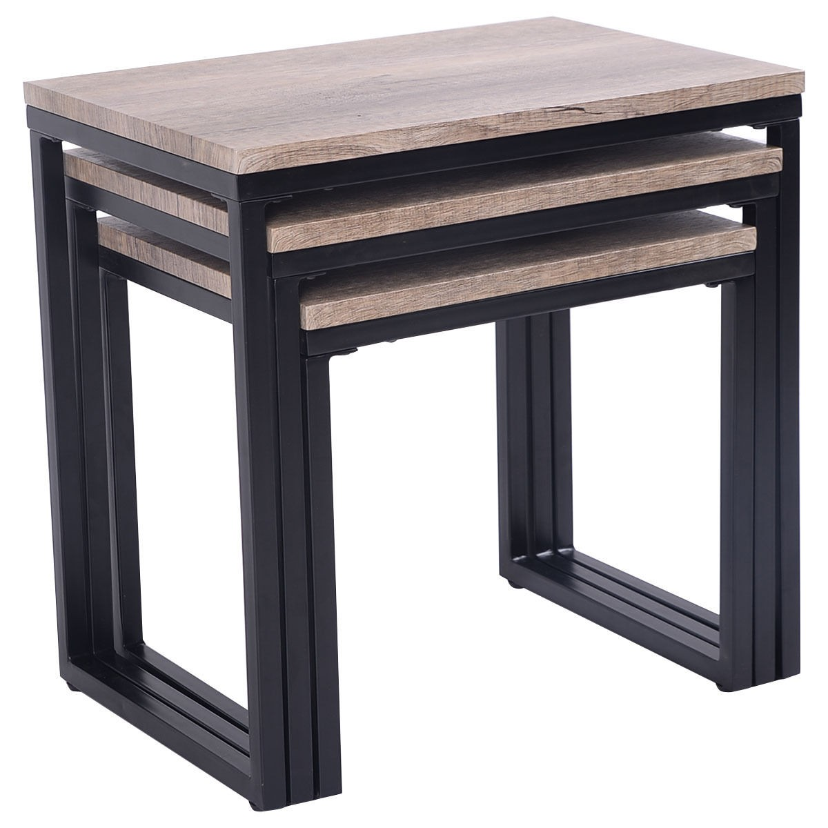 Stacking End Tables 3 Piece Nesting Coffee And End Table Set Wood Modern Living