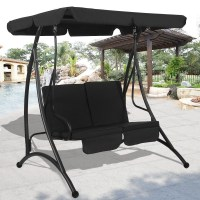 2 Person Canopy Swing Chair Patio Hammock Seat Cushioned ...