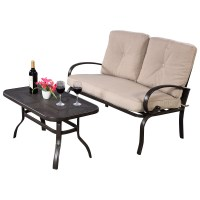 2 Pcs Patio Outdoor LoveSeat Coffee Table Set Furniture ...