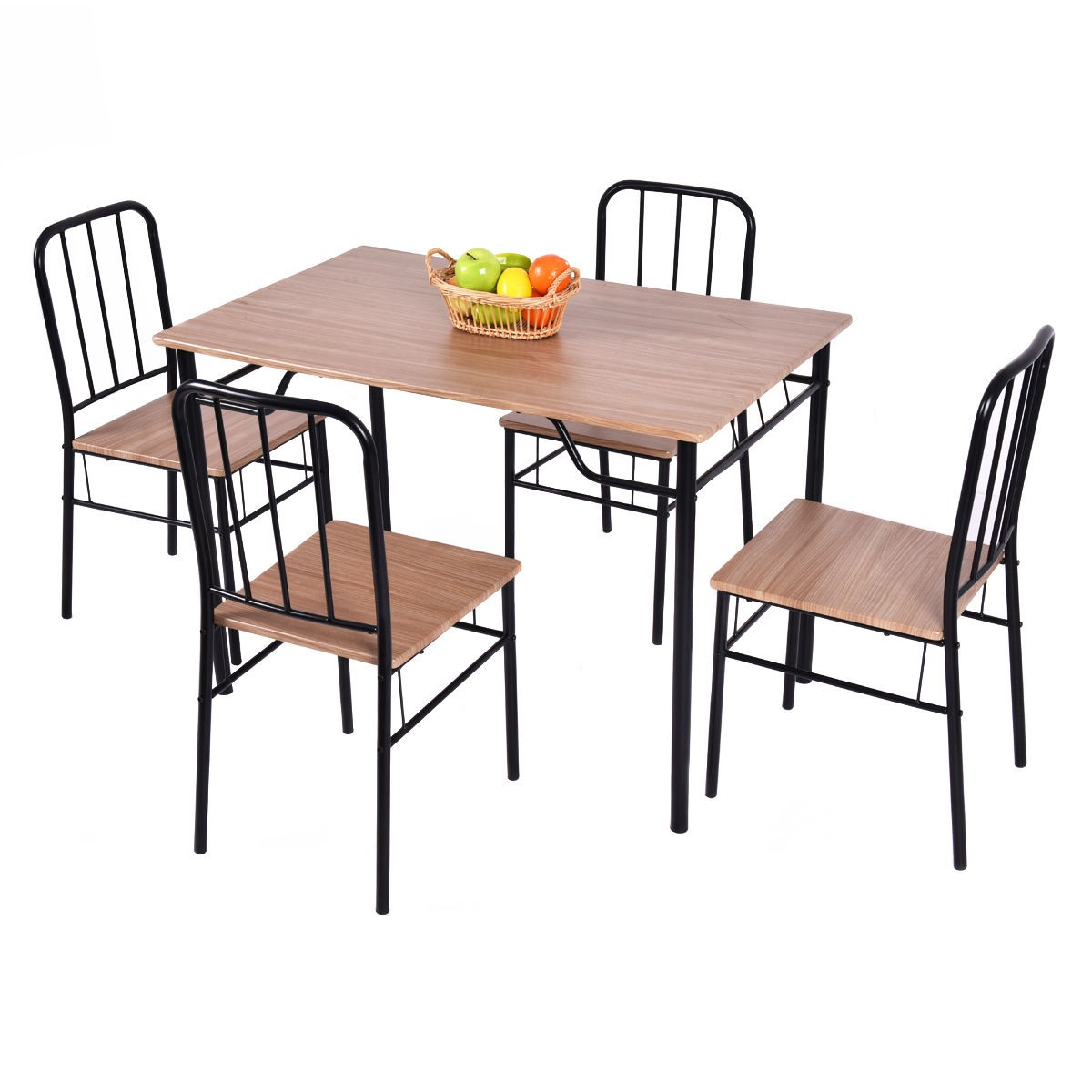 Dining Table Slides 5 Piece Dining Set Table And 4 Chairs With 2 Slide Out