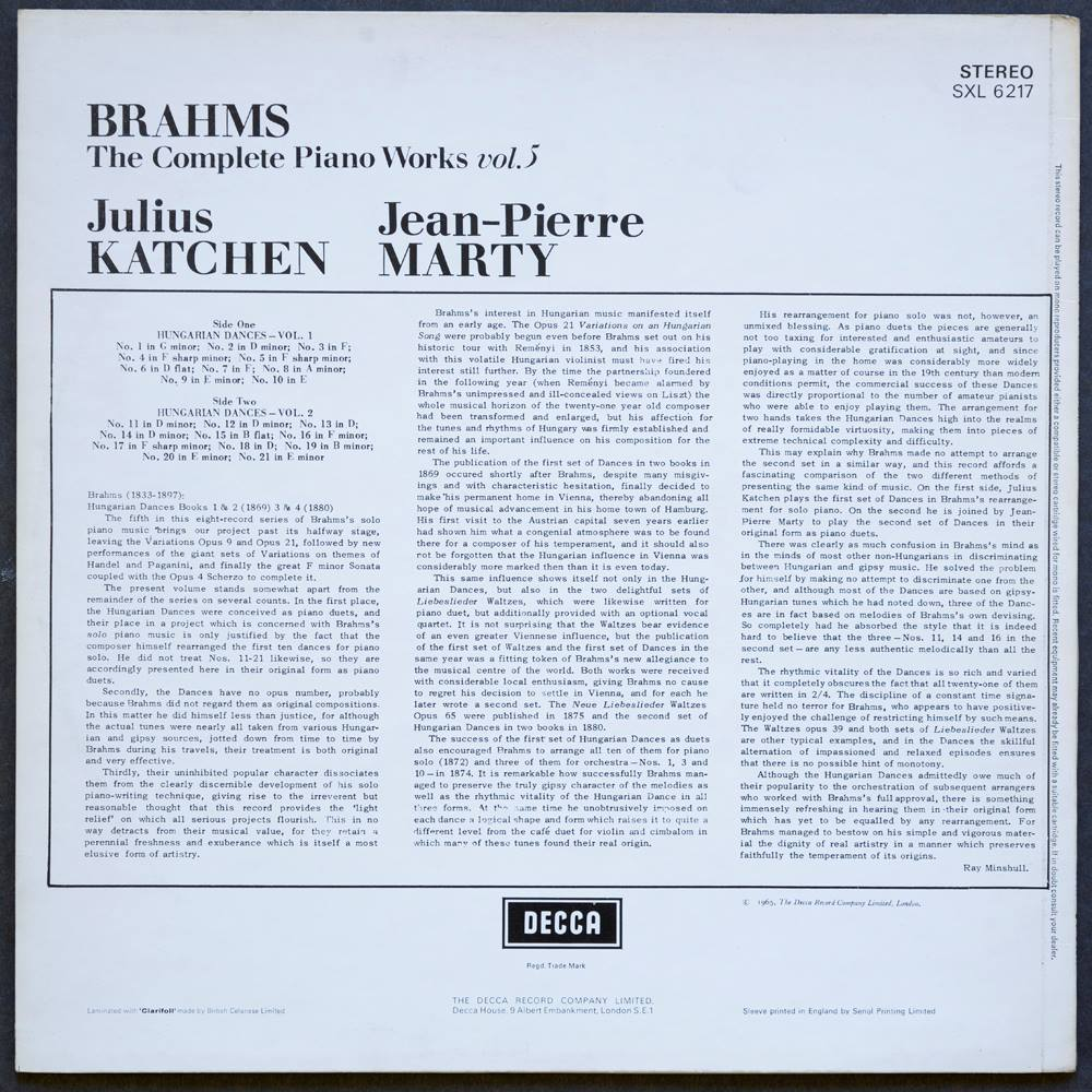 Formano Online Shop Brahms The Complete Piano Works Vol 5 Julius Katchen Decca Sxl6217 Stereo Lp Brahms Johannes Sxl 6217 Oxfam Gb Oxfam S Online Shop
