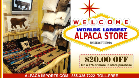 YBLTV Promotion: Get $20 off on a $75 or more in store purchase at Alpaca Imports, Boulder City, NV.