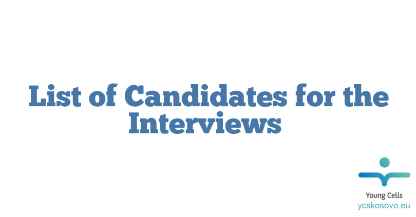 List of Candidates for the Interviews