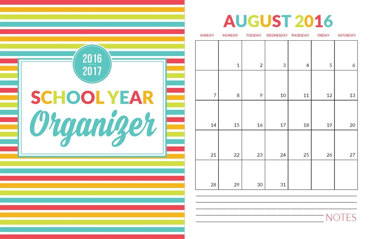 Organizer 2016 School Year Organizer Planner Printable Pack Yellow Bliss Road