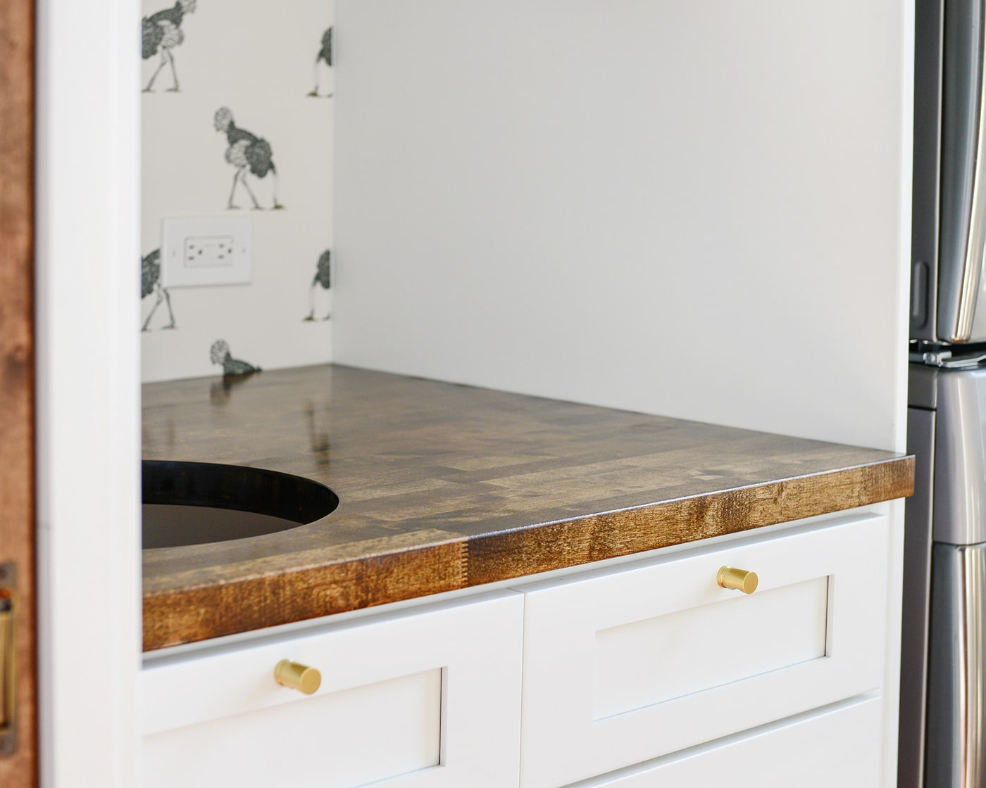 How We Measured Cut And Installed Our Butcher Block Countertop Yellow Brick Home