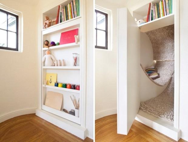 Тайная комната с гамаком для отдыха за книжными полками