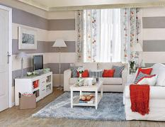 gray-living-room-with-horizontal-striped-wall