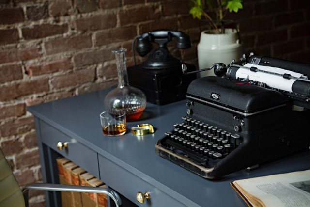 interior design, styling, art direction, exposed brick, black desk, vintage, props