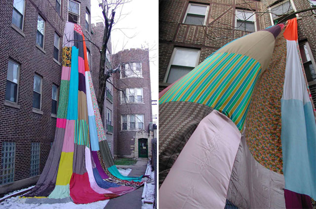 Rapunzel by Amanda Browder, textile installation, Brooklyn, New York