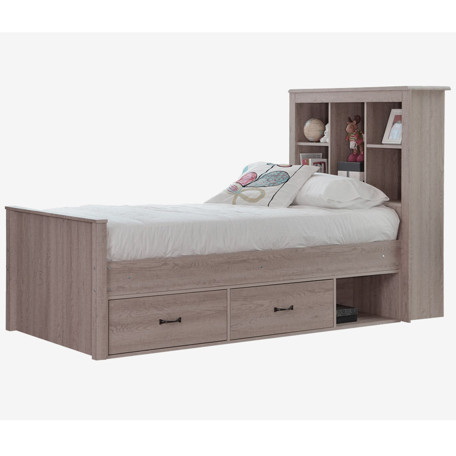 King Single Bed With Drawers King Single Bed With Book Shelf Drawers Sonoma Oak
