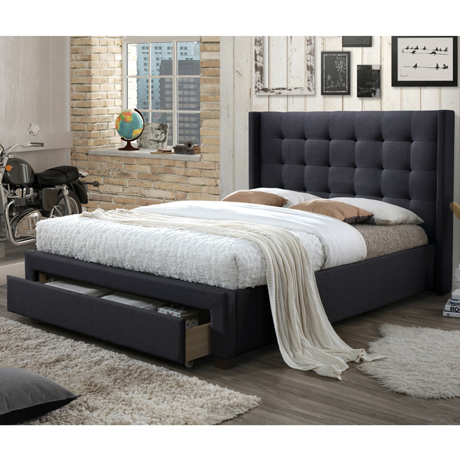 Queen Beds Online Luxury Queen Size Fabric Bed With Buttons And Studs Light Grey