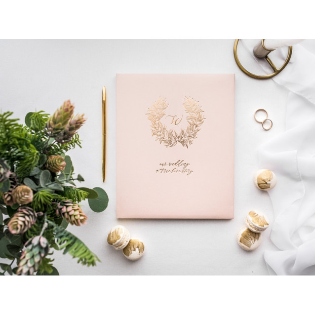 GUEST BOOK POWDER PINK AND GOLD - Yesidocloud