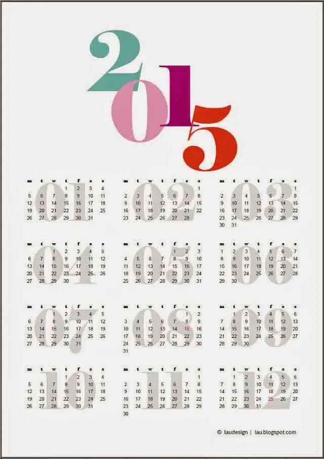 free printable 2015 year calendar - Pinarkubkireklamowe