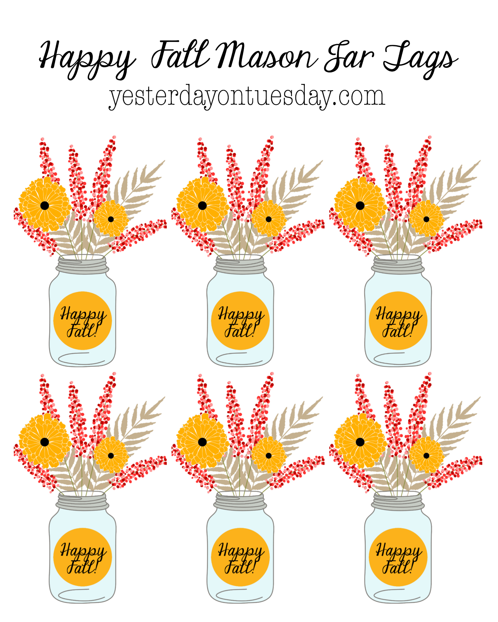 Particular Happy Fall Printable Mason Jar Gift Giving Happy Fall Mason Jar Gift Tags Yesterday On Tuesday Happy Fall Day Images Happy Friday Fall Images photos Happy Fall Images