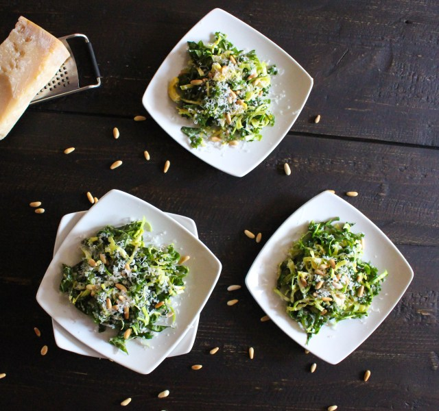 Raw Brussels Sprout & Kale Salad with Lemon Dressing | Yes to Yolks