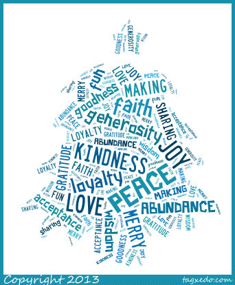 A Christmas Tree made of Words Scribblings - christmas tree words