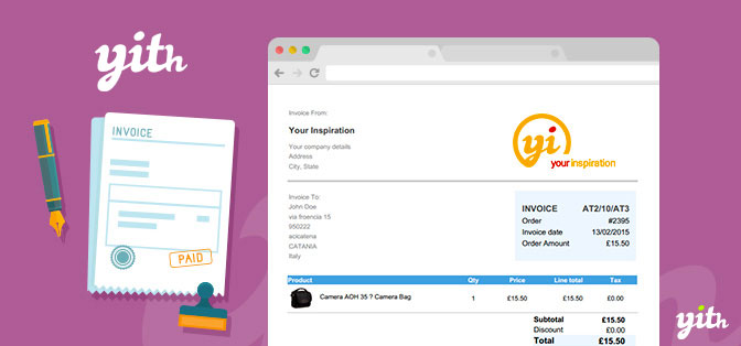 YITH WooCommerce PDF Invoice and Shipping List - pdf invoices