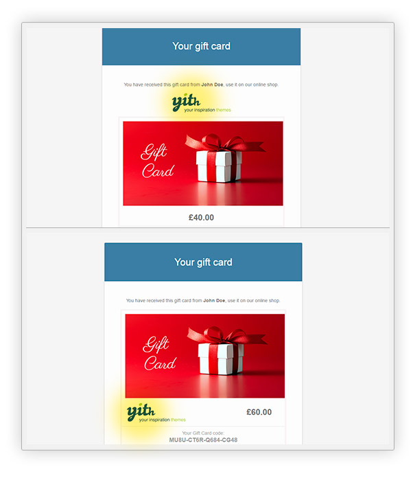 YITH WooCommerce Gift Cards - gift card template