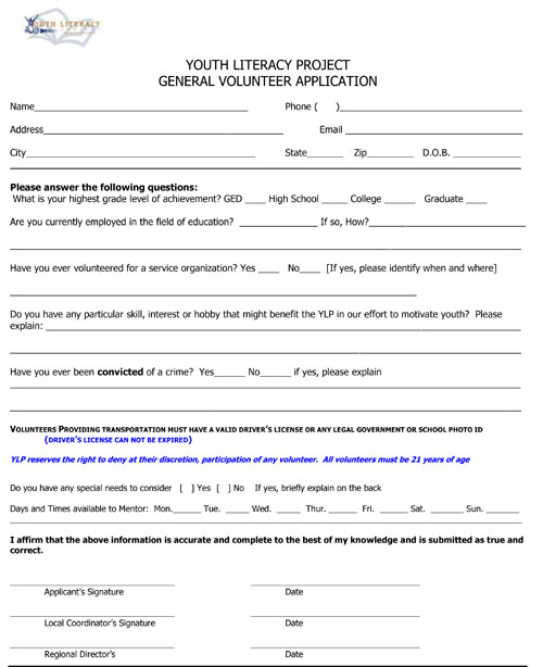 Ways to Volunteer - Youth Literacy Project - general application form