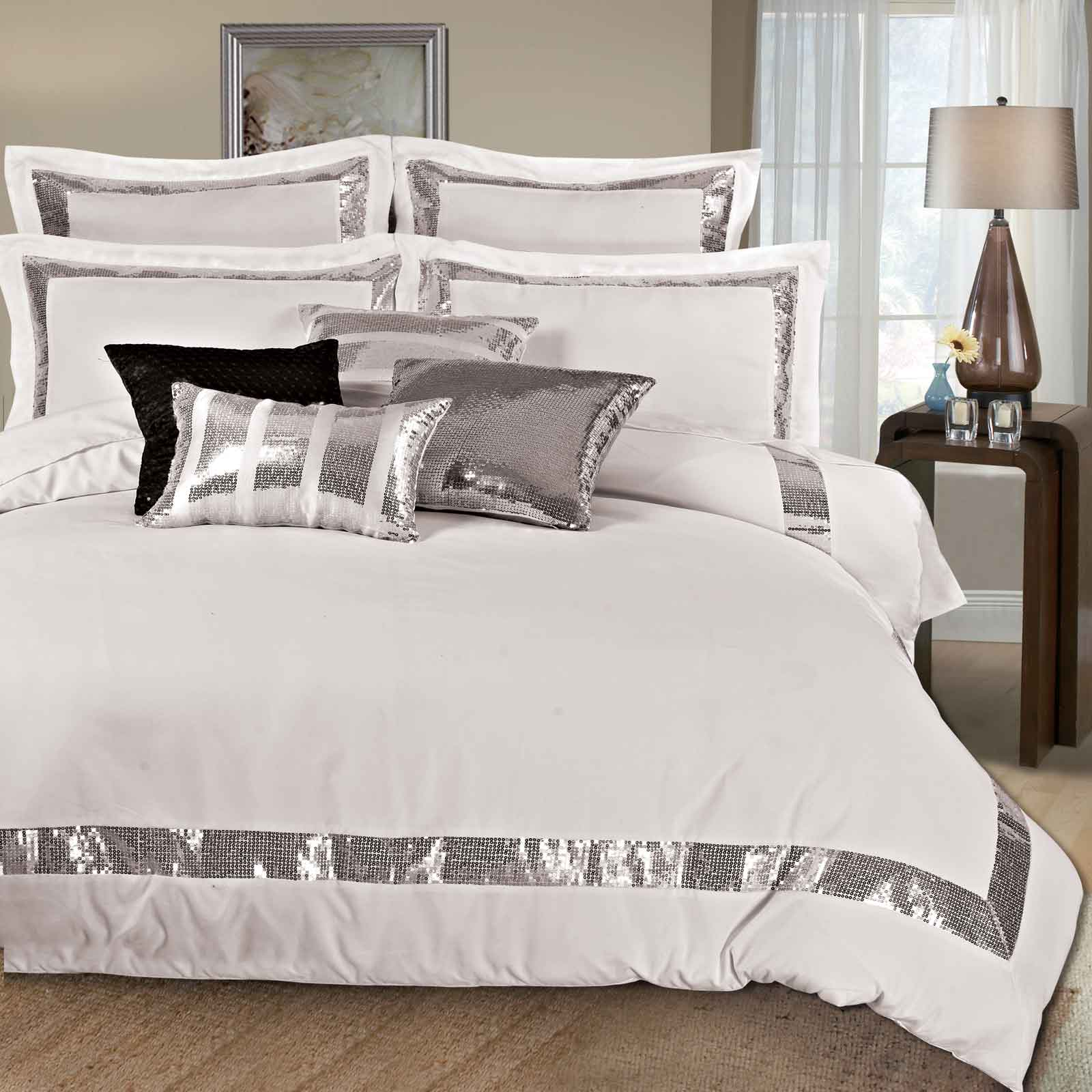 Queen Bed Set Sequins Queen King Size Duvet Quilt Cover Set 3pcs Bed