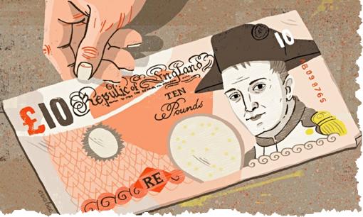 הבנק המרכזי של הרפובליקה האנגלית מציין החודש את יום השנה לנצחונו הגדול של נפוליאון בווטרלו בשטר חדש של עשר לירות סטרלינג עם דיוקן נפוליאון. במעמד ההוצאה לאור נכחו נציג אישי של הקיסר נפוליאון התשיעי לצד נשיאי אנגליה וסקוטלנד (האיור, לא הטקסט, הופיע בשבוע שעבר ב׳גארדיין׳ של לונדון)