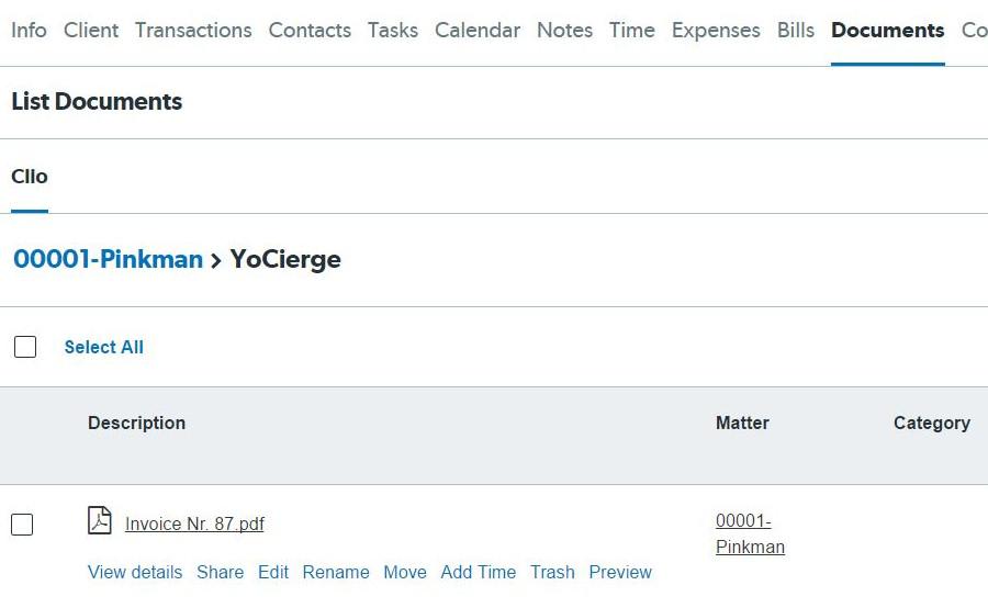 YoCierge Legal Technology - Clio