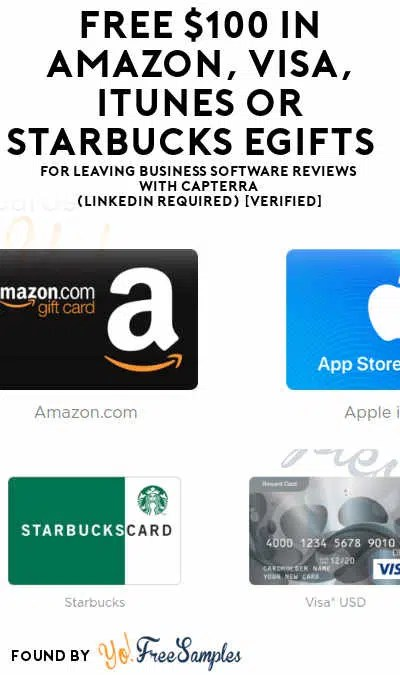 FREE $100 In Amazon, VISA, iTunes or Starbucks Gift Cards For
