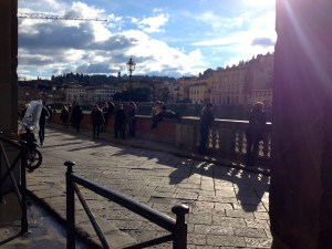 Sunlight and clouds over the Arno, photo by C.T. Luna