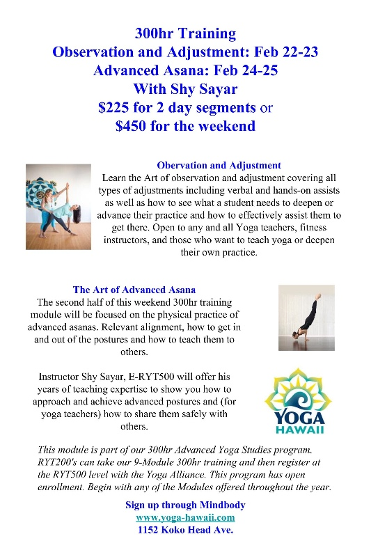 The Art of Advanced Asana \u2013 300hr Training Module \u2013 Yoga Hawaii Magazine