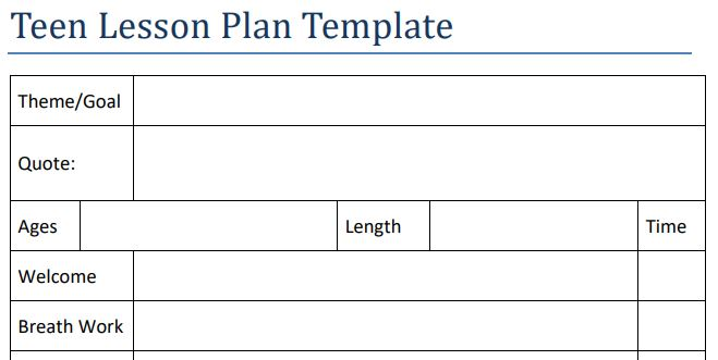 Teen Yoga Lesson Plan Template Yoga In My School - lesson plan outline