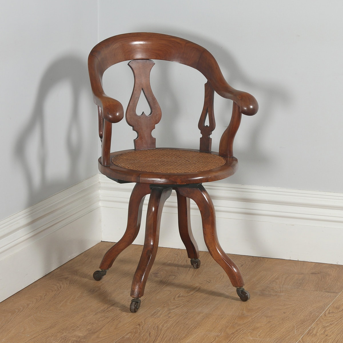 Mahogany Office Desk Antique English Victorian Mahogany Cane Revolving Office Desk Arm Chair Circa 1860