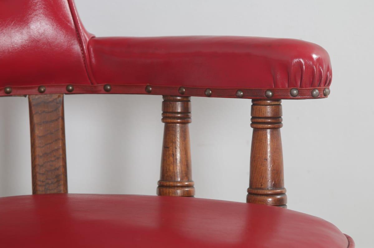 Antique Edwardian Oak Crimson Red Faux Leather Office