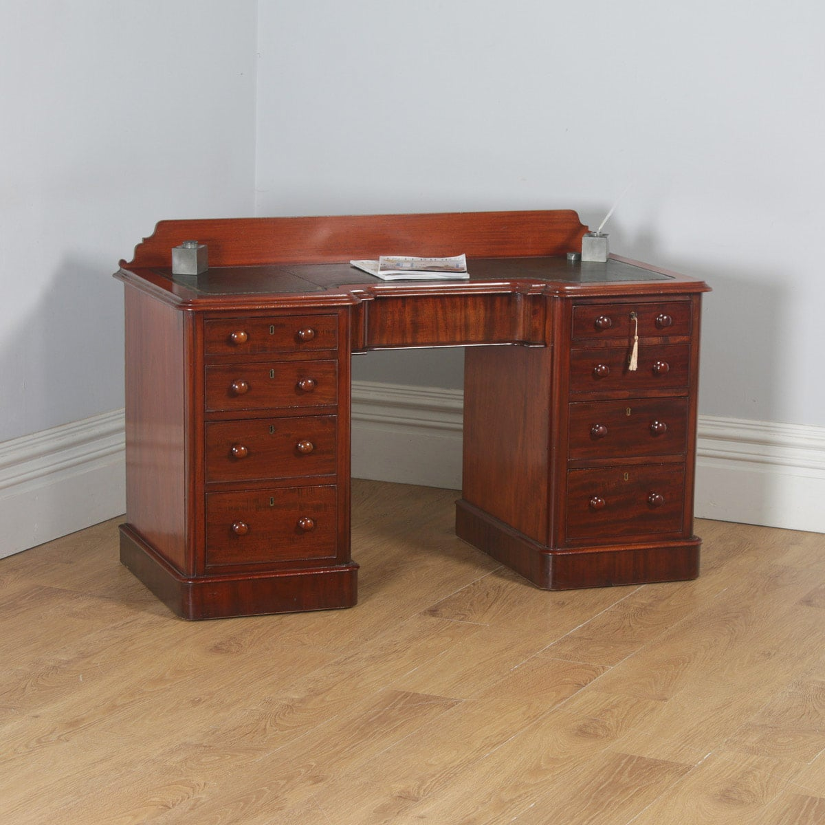 Mahogany Office Desk Antique Victorian Mahogany Leather 4ft 6 Breakfront Pedestal Office Desk Circa 1870