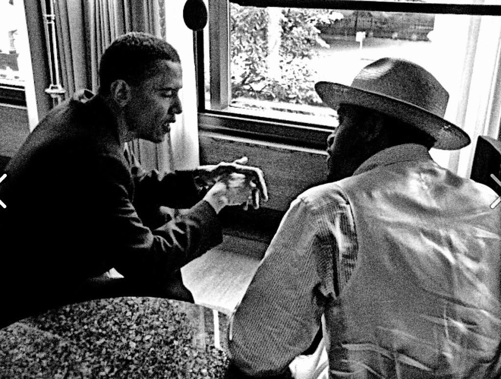 Barack Obama and Andre 3000/ Outkast in Boston  2004. Photo: Andrej Mrevlje