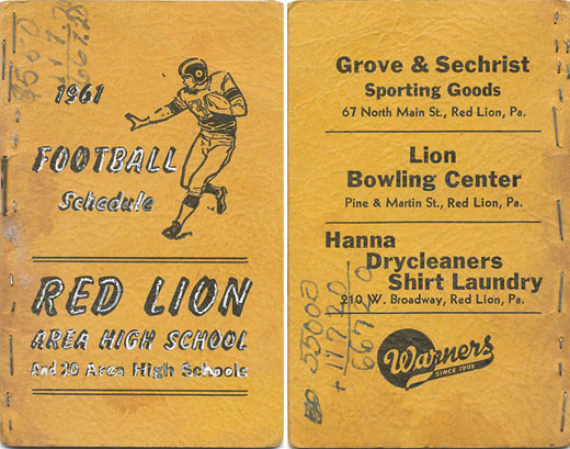 1961 Red Lion football schedule booklet Another store, another find