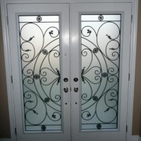 Wrought iron (glass door inserts) & DECORATIVE GLASS DOOR