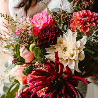 Homegrown Dahlia bouquet. Photo Georgina Brewster Photography