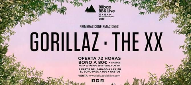 Gorillaz y The XX primeras confirmaciones del Bilbao BBK Live.