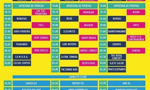 El SANSAN FESTIVAL presenta los horarios de su cartel 2018.