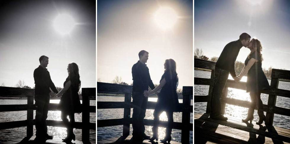 engagement shot of a couple kissing on a dock at the lake