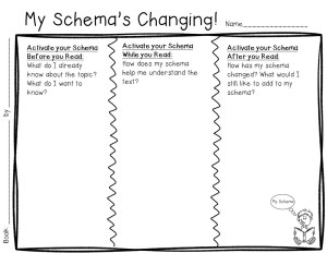 My Schema's Changing! Blank Recording Sheet jpeg