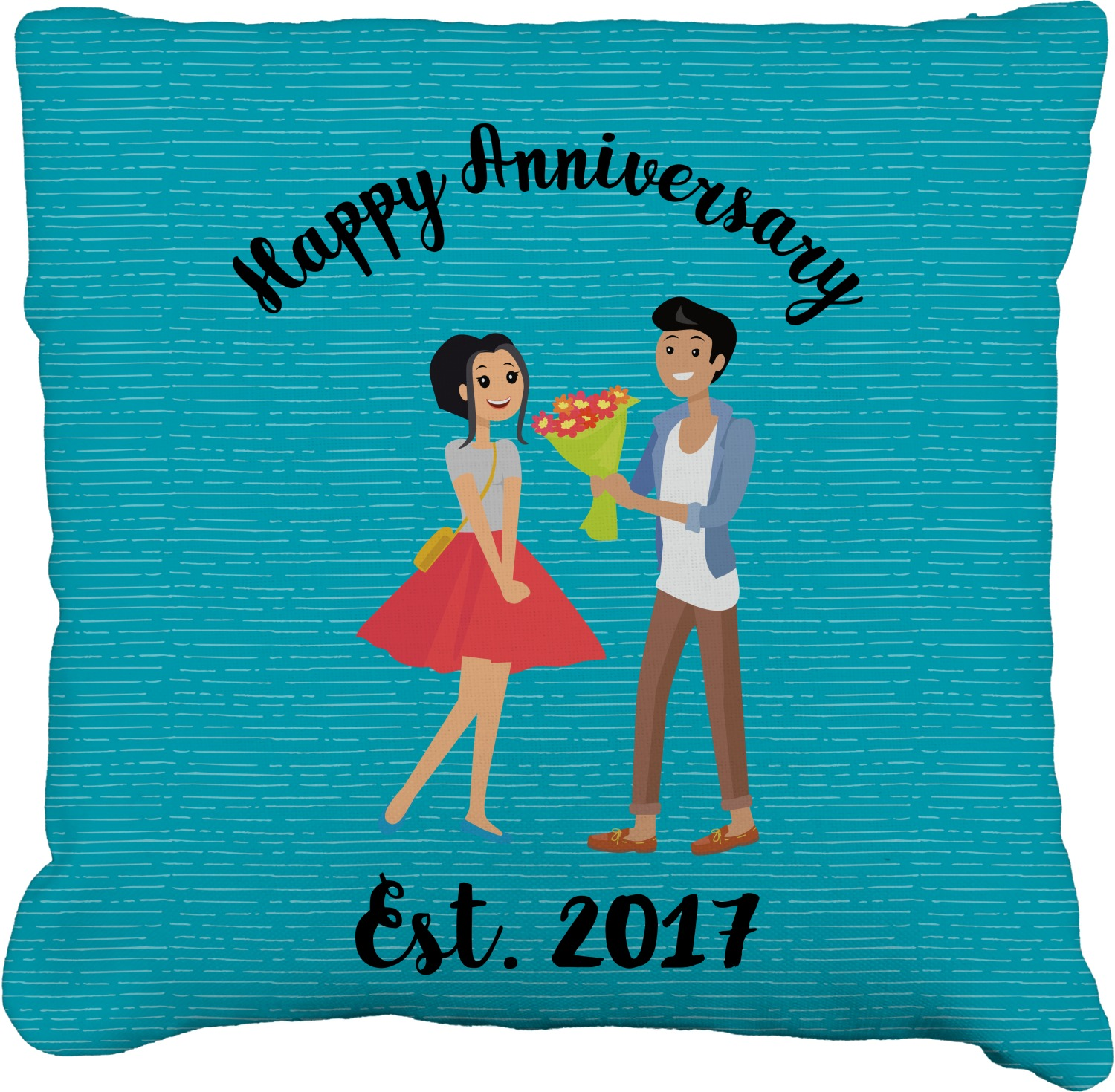 Happy 24 Happy Anniversary Burlap Pillow 24 Quot Personalized