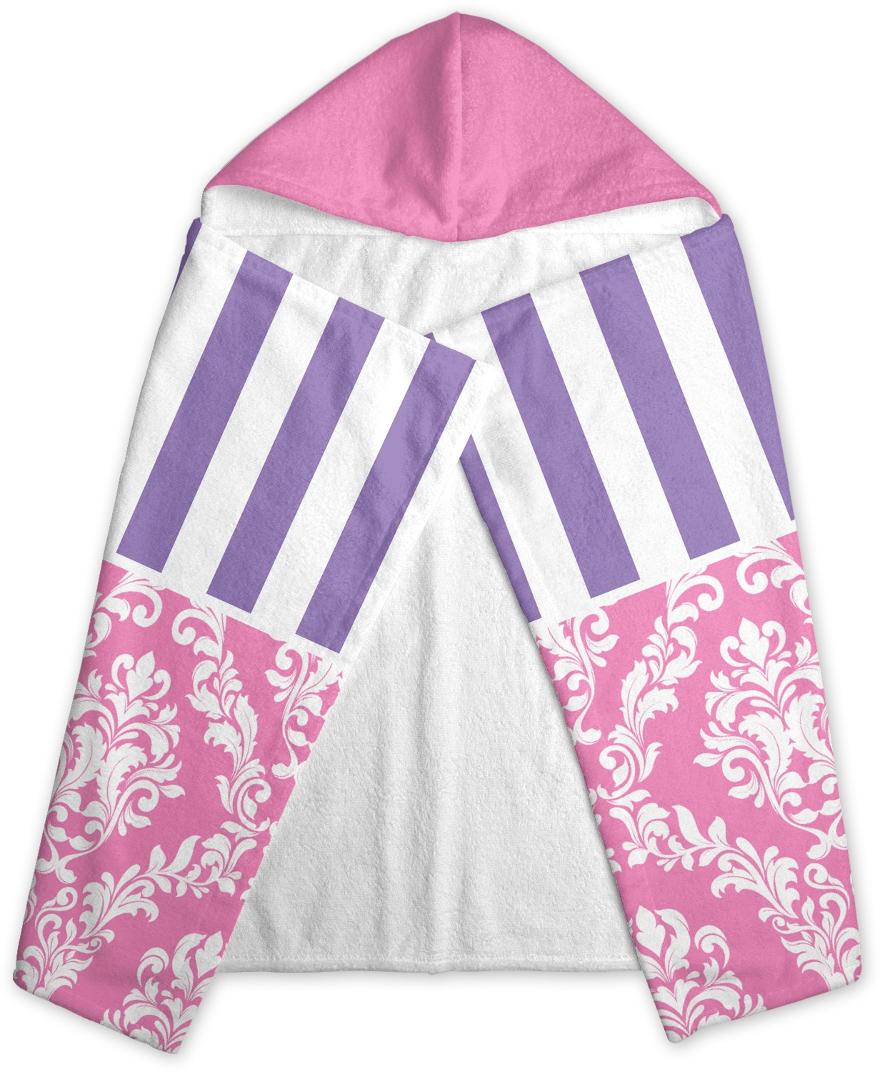 Pink Towels Pink And Purple Damask Hooded Towel Personalized