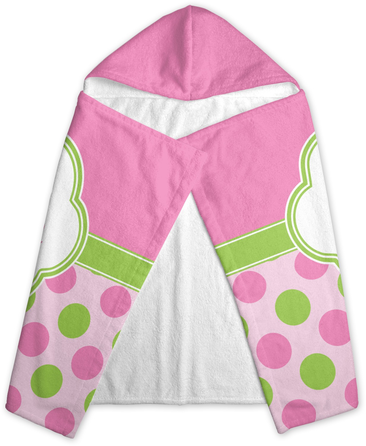 Pink Towels Pink And Green Dots Kids Hooded Towel Personalized
