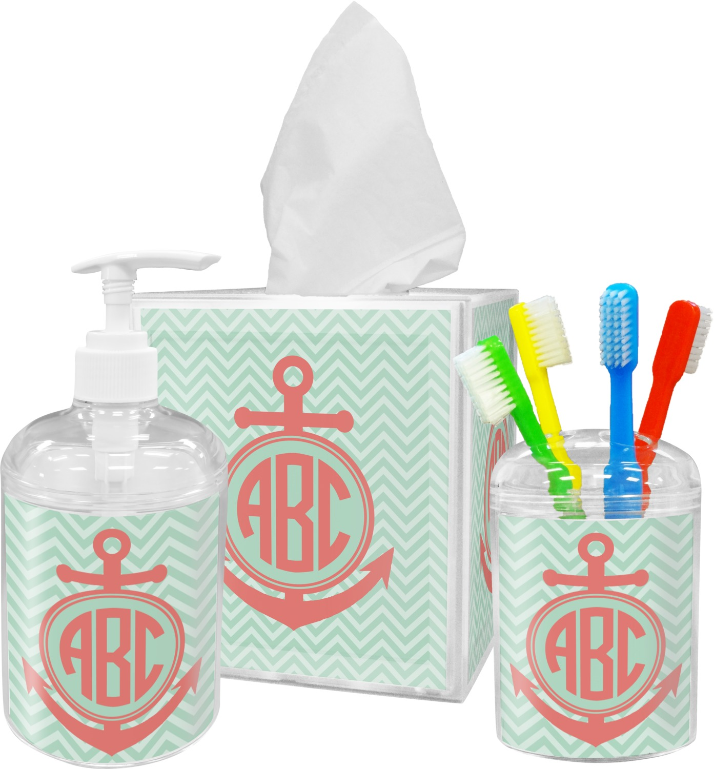 Bathroom Accessories Chevron Anchor Bathroom Accessories Set Personalized