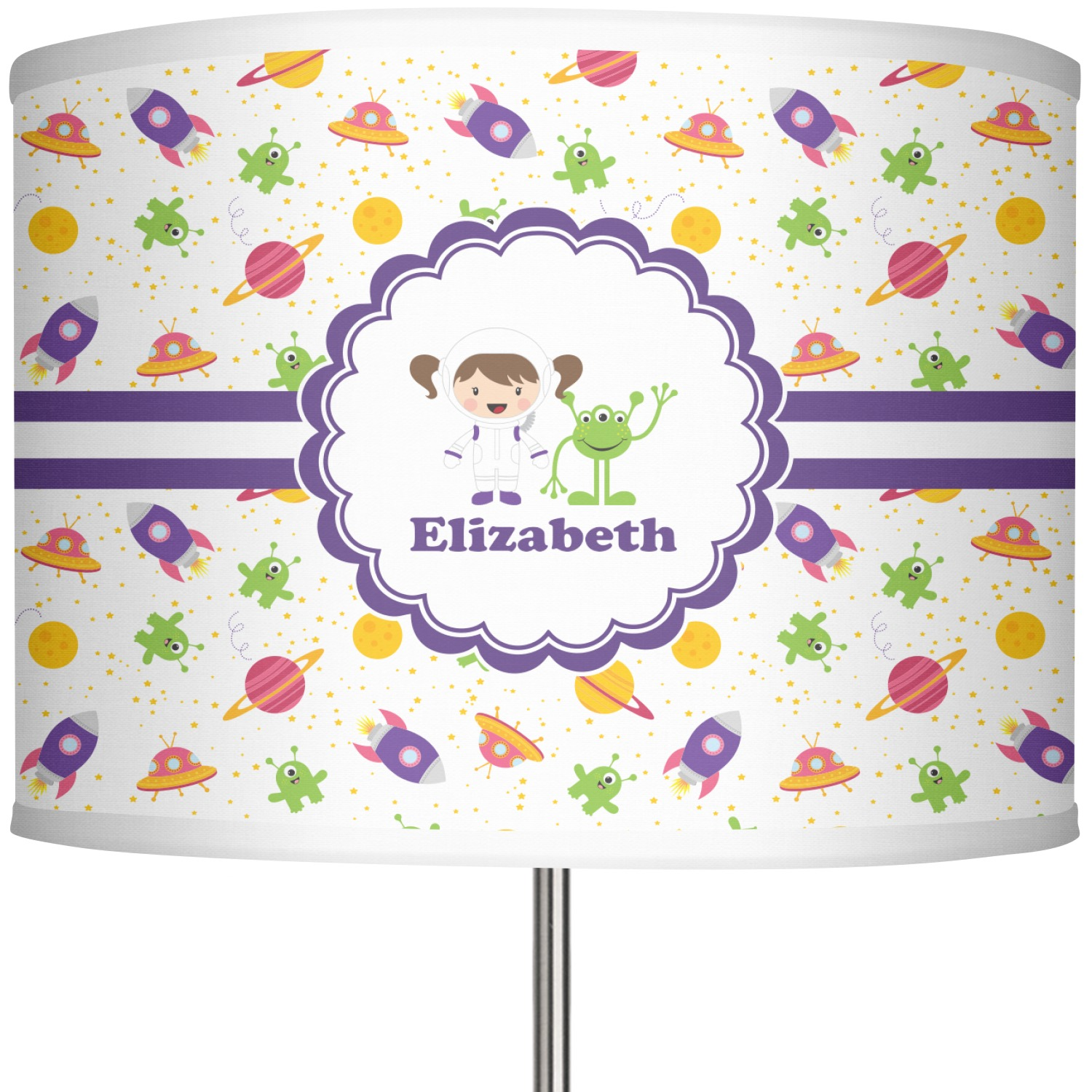 Space Themed Lamp Girls Space Themed 13 Quot Drum Lamp Shade Linen Personalized