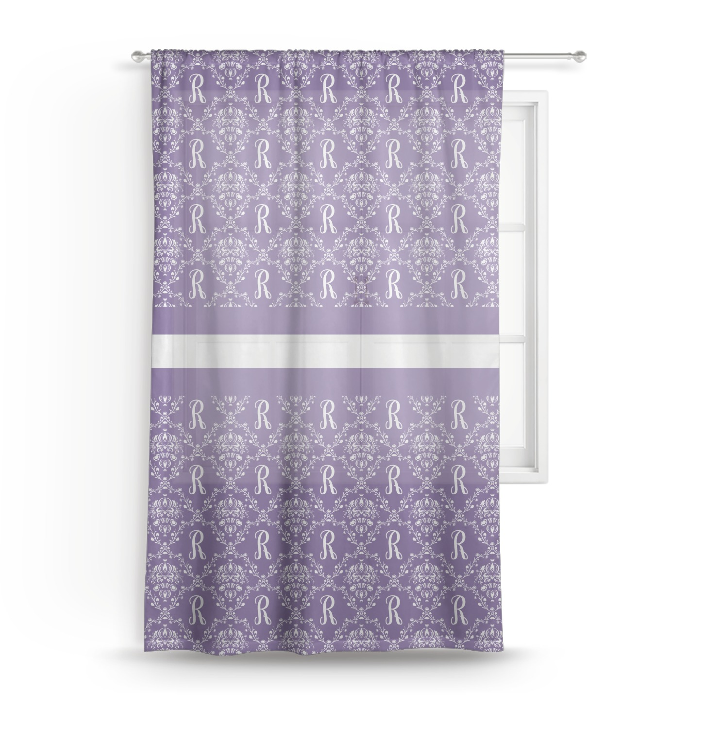 Lavender Sheer Curtains Initial Damask Sheer Curtains Personalized